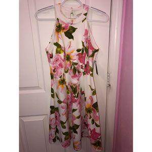 Cute White floral halter dress